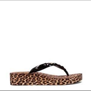 Tory Burch Leopard Jeweled Wedge Flip Flop size 10